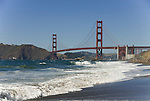 San Francisco: Baker Beach with Golden Gate Bridge in background.  Photo # 2-casanf83316.  Photo copyright Lee Foster