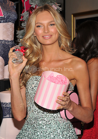 New York, NY: December 2: Romee Strijd poses at Victoria's Secret, Fifth Ave on December 2, 2016 in New York City.@John Palmer / Media Punch