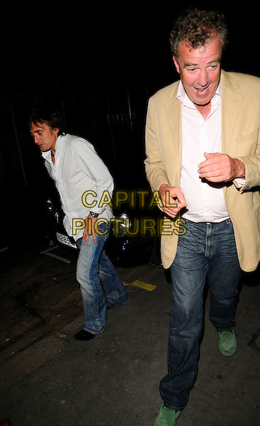 RICHARD HAMMOND & JEREMY CLARKSON.Spotted at The Ivy Restaurant, London, England..June 11th, 2008.full length jeans denim white shirt beige suit jacket green shoes loafers tall short mouth open  .CAP/CAN.©Can Nguyen/Capital Pictures.