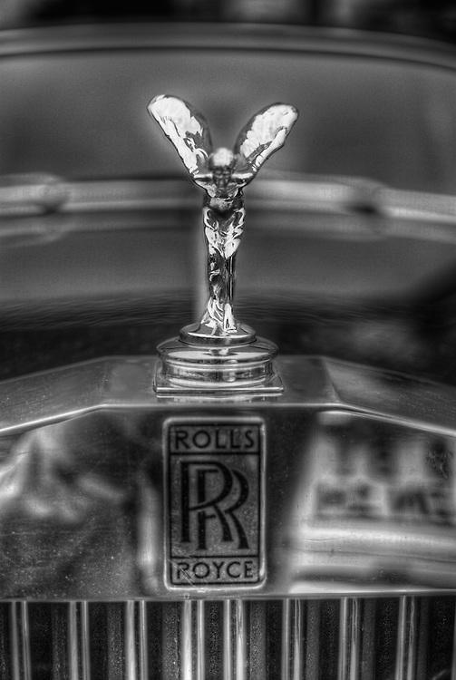 Close up of Classic car. Rolls Royce emblem