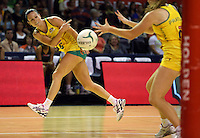 17.10.2012 Australia's Natalie Von Bertouch in action during the Australia v South Africa netball test match as part of the Quad Series played in Newcastle Australia. Mandatory Photo Credit ©Michael Bradley.