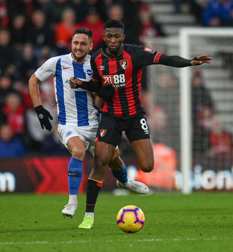 Bournemouth's Jefferson Lerma (right) battles with Brighton & Hove Albion's Florin Andone (left) <br /> <br /> Photographer David Horton/CameraSport<br /> <br /> The Premier League - Bournemouth v Brighton and Hove Albion - Saturday 22nd December 2018 - Vitality Stadium - Bournemouth<br /> <br /> World Copyright © 2018 CameraSport. All rights reserved. 43 Linden Ave. Countesthorpe. Leicester. England. LE8 5PG - Tel: +44 (0) 116 277 4147 - admin@camerasport.com - www.camerasport.com