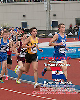 Hillsboro junior Aaron Dugan leads the boys 3200-meters just ahead of Festus' Tyler Gilliam early in the race at the 2015 Kansas Relays.