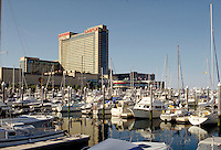 Trump's Castle Hotel & Casino seen from Farley Marina in Atlantic City, New Jersey. Gambling, marinas, boats, sailboats,. Atlantic City New Jersey.