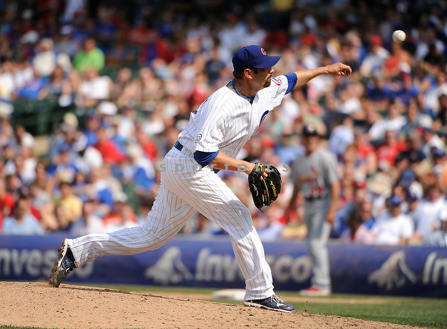 JOHN GRABOW, of the Chicago Cubs in action during the Cubs game against the St. Louis Cardinals, on May 12, 2011 at Wrigley Field in Chicago, Illinois.  The Cardinals beat the Cubs 9-1.