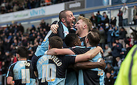 Celebrations as Luke O'Nien of Wycombe Wanderers scores during the Sky Bet League 2 match between Wycombe Wanderers and Bristol Rovers at Adams Park, High Wycombe, England on 27 February 2016. Photo by Andy Rowland.