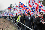 © Joel Goodman - 07973 332324 . 25/02/2017. Telford, UK. Britain First hold a demonstration and march in Telford , opposed by anti-fascist groups . Britain First say they are highlighting concerns about child sexual exploitation in the town . Photo credit : Joel Goodman