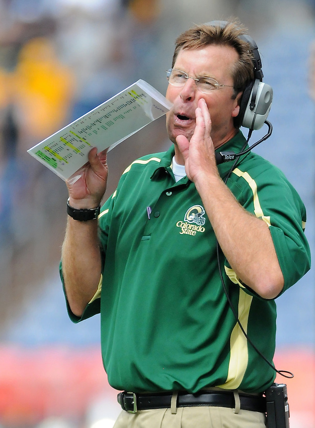 SEPTEMBER 17, 2011:    Colorado State Rams head coach Steve Fairchild  during an inter-conference game between the Colorado State Rams and the University of Colorado Buffaloes at Sports Authority Field at Mile High Field in Denver, Colorado. The Buffaloes led 14-7 at halftime*****For editorial use only*****