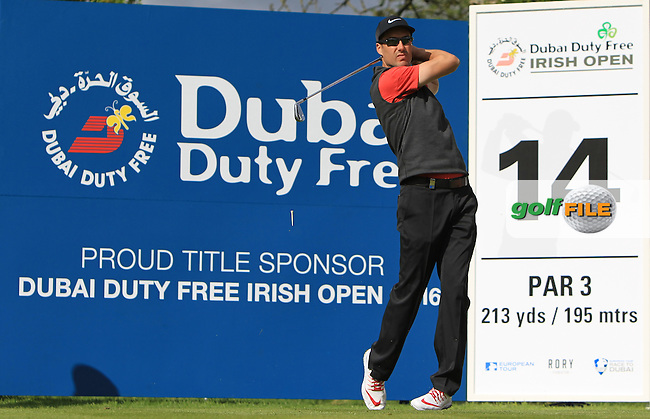 Ross Fisher (ENG) on the 14th tee during Wednesday's Pro-Am round of the Dubai Duty Free Irish Open presented  by the Rory Foundation at The K Club, Straffan, Co. Kildare<br /> Picture: Golffile | Thos Caffrey<br /> <br /> All photo usage must carry mandatory copyright credit <br /> (&copy; Golffile | Thos Caffrey)