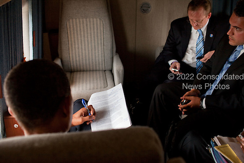 Washington, Dc - September 9, 2009 -- United States President Barack Obama reviews his health care speech aboard Marine One en route to the White House from Andrews Air Force Base September 9, 2009. .Mandatory Credit: Pete Souza - White House via CNP