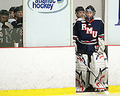 Brooks Ostergard (RMU - 35) - The Bentley University Falcons defeated the visiting Robert Morris University Colonials 2-1 on Friday, January 6, 2012, at the John A. Ryan Skating Arena in Watertown, Massachusetts.
