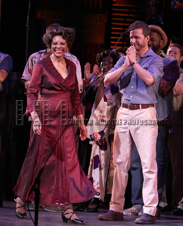 Leslie Uggams with Will Chase  & Company.during the New York City Center Encores! 'Pipe Dream' Opening Night Curtain Call in New York City on 3/28/2012.
