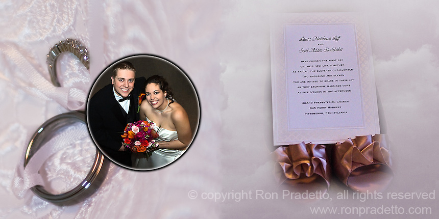 1st & 2nd pages of one of the wedding albums we offer, designed, printed and bound by Ron Pradetto Photography.