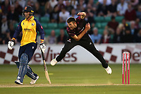 Craig Overton in bowling action for Somerset during Essex Eagles vs Somerset, Vitality Blast T20 Cricket at The Cloudfm County Ground on 7th August 2019