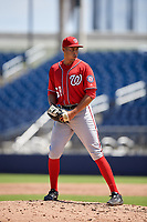 Washington Nationals pitcher Orlando Ribalta (58) during an Instructional League game against the Miami Marlins on September 26, 2019 at FITTEAM Ballpark of The Palm Beaches in Palm Beach, Florida.  (Mike Janes/Four Seam Images)