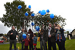 The family of Cameron Reilly release balloons at the tree planting cermony. Photo:Colin Bell/pressphotos.ie