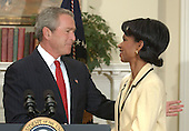 United States President George W. Bush names Dr. Condoleezza Rice to be United States Secretary of State succeeding Colin Powell in the Roosevelt Room at the White House in Washington, D.C. on November 16, 2004.<br /> Credit: Ron Sachs / Pool via CNP