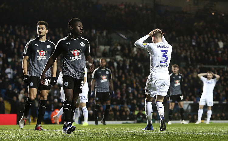 Leeds United's Barry Douglas rues a missed early effort from close range<br /> <br /> Photographer Rich Linley/CameraSport<br /> <br /> The EFL Sky Bet Championship - Leeds United v Reading - Tuesday 27th November 2018 - Elland Road - Leeds<br /> <br /> World Copyright © 2018 CameraSport. All rights reserved. 43 Linden Ave. Countesthorpe. Leicester. England. LE8 5PG - Tel: +44 (0) 116 277 4147 - admin@camerasport.com - www.camerasport.com