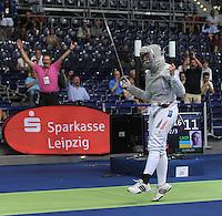 European Championships Fencing 2010 / Fecht Europameisterschaft 2010 in Leipzig - Competition Championat d'europe - im Bild: Sibylle Klemm (GER, Women Sabre / Damen Säbel ) after winning her match in quart finale  . Foto: Norman Rembarz..Norman Rembarz , Autorennummer 41043728 , Augustenstr. 2, 04317 Leipzig, Tel.: 01794887569, Hypovereinsbank: BLZ: 86020086, KN: 357889472, St.Nr.: 231/261/06432 - Jegliche kommerzielle Nutzung ist honorar- und mehrwertsteuerpflichtig! Persönlichkeitsrechte sind zu wahren. Es wird keine Haftung übernommen bei Verletzung von Rechten Dritter. Autoren-Nennung gem. §13 UrhGes. wird verlangt. Weitergabe an Dritte nur nach  vorheriger Absprache..