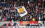 Middlesbrough fans with flag during the Championship match at the Riverside Stadium, Middlesbrough. Picture date: August 12th 2017. Picture credit should read: Simon Bellis/Sportimage