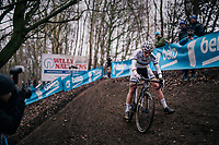 this wasn't the best of races for CX World Champion Sanne Cant (BEL/IKO-Beobank) &gt; she would eventually finish 7th  <br /> <br /> Brussels Universities Cyclocross (BEL) 2019<br /> Women's Race<br /> DVV Trofee<br /> &copy;kramon