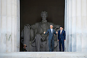 President Barack Obama and Prime Minister Shinzo Abe of Japan turn to look across the reflecting pool as they visit the Lincoln Memorial in Washington, District of Columbia, U.S., on Monday, April 27, 2015.  Prime Minister Abe is in the Nation's Capital to discuss a range of economic, security, and global issues, including progress on the Trans Pacific Partnership, Japan's expanding role in the Alliance, and climate change.<br /> Credit: Pete Marovich / Pool via CNP