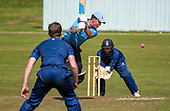Cricket Scotland - the Citylets Scottish Cup Final between Carlton CC V Heriots CC at Meikleriggs, Paisley (Ferguslie CC) - Carlton's Fraser Burnett gets the ball away in a knock of 13 in a low scoring game - picture by Donald MacLeod - 25.08.19 - 07702 319 738 - clanmacleod@btinternet.com - www.donald-macleod.com