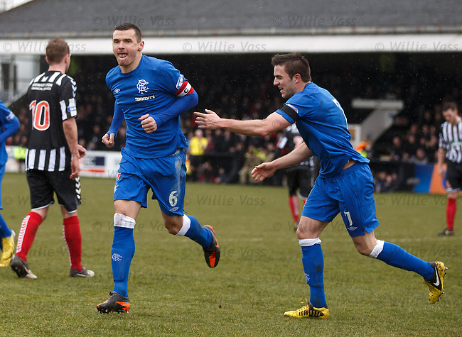 Lee McCulloch celebrates his penalty goal for Rangers with Andy Little
