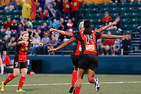 Rochester, NY - Friday July 01, 2016: Western New York Flash midfielder McCall Zerboni (7), forward Jessica McDonald (14), midfielder Lianne Sanderson (10) during a regular season National Women's Soccer League (NWSL) match between the Western New York Flash and the Chicago Red Stars at Rochester Rhinos Stadium.