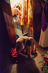 Members of the Russian Center Dancers prepare in the dressing room before going onstage at the Russian Festival in San Francisco, California on Saturday, February 22nd, 2014.  Photo/Victoria Sheridan