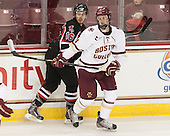 Philippe Maillet (UNB - 16), Adam Gilmour (BC - 14) - The Boston College Eagles defeated the visiting University of New Brunswick Varsity Reds 6-4 in an exhibition game on Saturday, October 4, 2014, at Kelley Rink in Conte Forum in Chestnut Hill, Massachusetts.