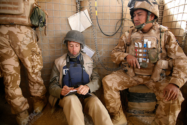 Journalist David Orr out on the frontline with the Gurkhas B Co. 1 RGR, Garmsir, Helmand, Afghanistan, November 2007.