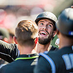28 August 2016: Colorado Rockies outfielder and Baseball America top prospect David Dahl smiles in the dugout after hitting a solo home run in the 3rd inning against the Washington Nationals at Nationals Park in Washington, DC. The Rockies defeated the Nationals 5-3 to take the rubber match of their 3-game series. Mandatory Credit: Ed Wolfstein Photo *** RAW (NEF) Image File Available ***