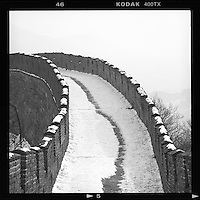 A snow-covered Great Wall is seen in Mutianyu on the outskirts of Beijing, China, December, 2012. (Mamiya 6, 150mm, Kodak TRI-X film)