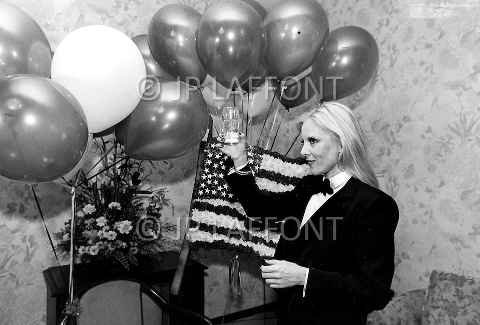 Las Vegas, Nevada, USA, December, 1982 - French Singer Sylvie Vartan raises a glass at a party in between performances at the MGM Hotel in Las Vegas.