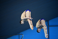 Russia's Viktor Minibaev and Aleksandr Bondar compete in the Men's 10m Synchro Platform<br /> <br /> Photographer Hannah Fountain/CameraSport<br /> <br /> FINA/CNSG Diving World Series 2019 - Day 1 - Friday 17th May 2019 - London Aquatics Centre - Queen Elizabeth Olympic Park - London<br /> <br /> World Copyright © 2019 CameraSport. All rights reserved. 43 Linden Ave. Countesthorpe. Leicester. England. LE8 5PG - Tel: +44 (0) 116 277 4147 - admin@camerasport.com - www.camerasport.com