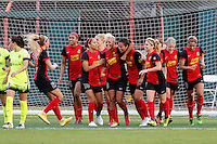 Rochester, NY - Saturday July 09, 2016: Abby Erceg celebrates scoring during a regular season National Women's Soccer League (NWSL) match between the Western New York Flash and the Seattle Reign FC at Frontier Field.