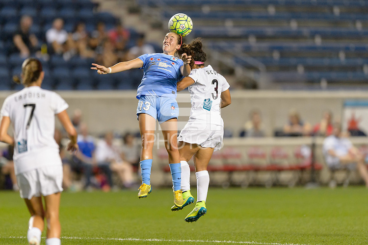 Chicago, IL - Wednesday Sept. 07, 2016: Amanda Da Costa, Desiree Scott during a regular season National Women's Soccer League (NWSL) match between the Chicago Red Stars and FC Kansas City at Toyota Park.