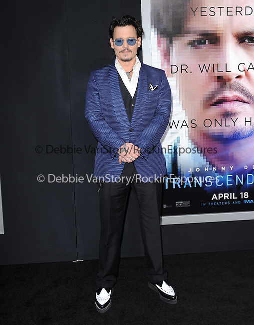 """Johnny Depp attends The L.A. Premiere of Alcon Entertainment's """"TRANSCENDENCE"""" held at The Regency Village Theater in Westwood, California on April 10,2014                                                                               © 2014Hollywood Press Agency"""