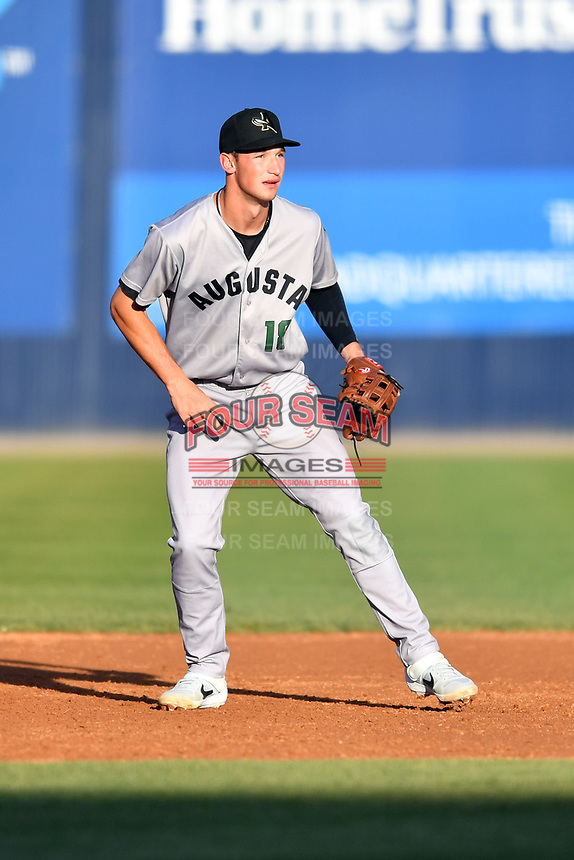 Augusta GreenJackets third baseman Jacob Gonzalez (18) during a game against the Asheville Tourists at McCormick Field on April 6, 2019 in Asheville, North Carolina. The Tourists defeated the GreenJackets 6-3. (Tony Farlow/Four Seam Images)