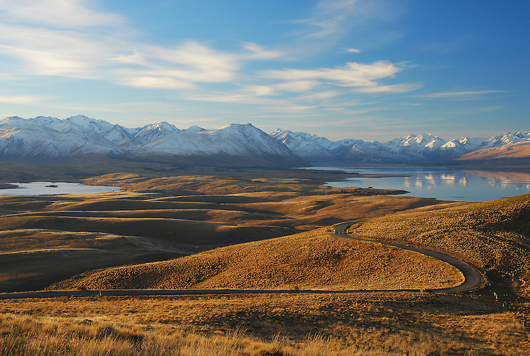 Lake Alexandrina and Lake Tekapo from Mount John, McKenzie Country