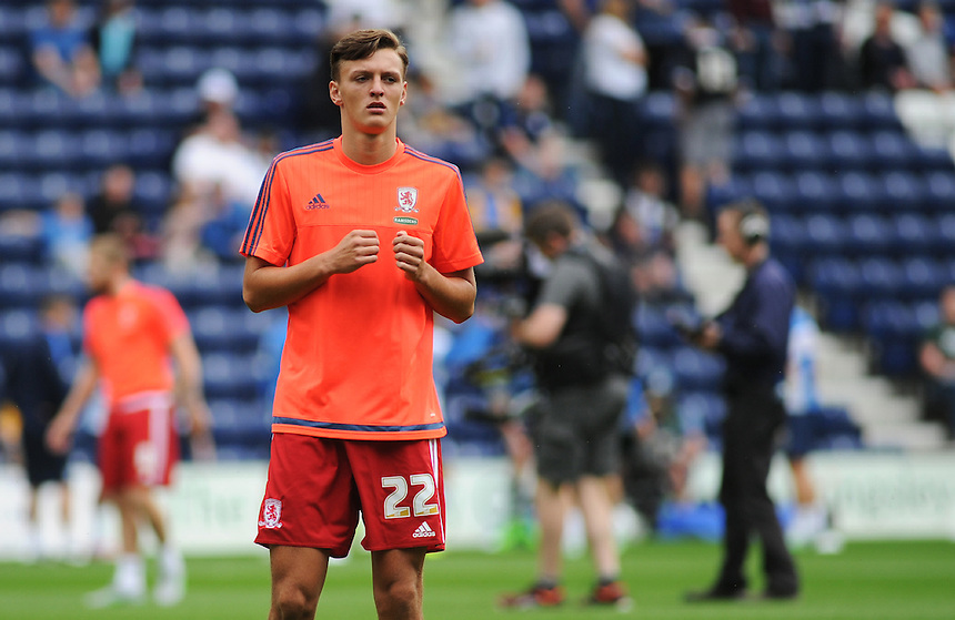 Middlesbrough's Dael Fry during the pre-match warm-up <br /> <br /> Photographer Kevin Barnes/CameraSport<br /> <br /> Football - The Football League Sky Bet Championship - Preston North End v Middlesbrough -  Sunday 9th August 2015 - Deepdale - Preston<br /> <br /> &copy; CameraSport - 43 Linden Ave. Countesthorpe. Leicester. England. LE8 5PG - Tel: +44 (0) 116 277 4147 - admin@camerasport.com - www.camerasport.com