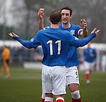 Lee Wallace congratulates goalscorer David Templeton