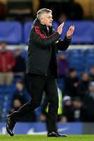 Manchester United Caretaker Manager, Ole Gunnar Solskjaer applauds the away fans at the end of the match during Chelsea vs Manchester United, Emirates FA Cup Football at Stamford Bridge on 18th February 2019