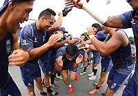 Junior Pauga is welcomed back to training after being out injured.<br /> Vodafone Warriors training session. NRL Rugby League. Mt Smart Stadium, Auckland, New Zealand. Thursday 8 February 2018 &copy; Copyright Photo: Andrew Cornaga / www.photosport.nz
