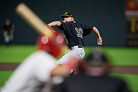 West Virginia Black Bears pitcher Cameron Junker (32) during a NY-Penn League game against the Auburn Doubledays on August 23, 2019 at Falcon Park in Auburn, New York.  West Virginia defeated Auburn 6-5, the second game of a doubleheader.  (Mike Janes/Four Seam Images)