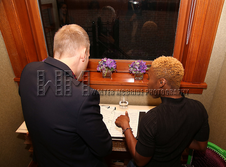 Justin Paul and Cynthia Erivo during the Dramatists Guild Fund intimate salon with Benj Pasek and Justin Paul at the home of Kara Unterberg on March 7, 2016 in New York City.
