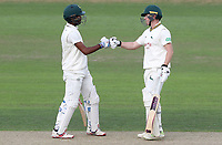 Kraigg Brathwaite (left) congratulates Ben Slater (right) on scoring fifty runs during Nottinghamshire CCC vs Essex CCC, Specsavers County Championship Division 1 Cricket at Trent Bridge on 11th September 2018