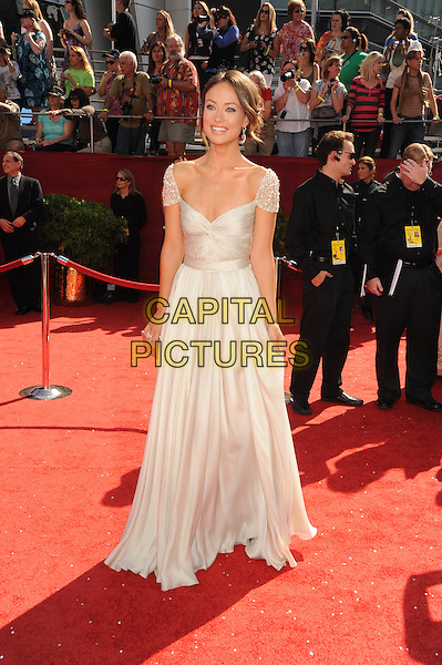 OLIVIA WILDE .The 60th Annual Primetime Emmy Awards held at The Nokia Theatre in Los Angeles, California, USA, .September 21st 2008.     .emmys red carpet arrivals  full length white long dress cap sleeve silver clutch bag .CAP/DVS.©Debbie VanStory/Capital Pictures