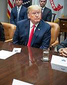 United States President Donald J. Trump listens to a reporter's question after announcing a grant for drug-free communities support program in the Roosevelt Room of the White House in Washington, DC on Wednesday, August 29, 2018.  Following his remarks the President took a few questions from the press.<br /> Credit: Ron Sachs / CNP
